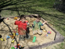 Fun in the backyard sandbox.