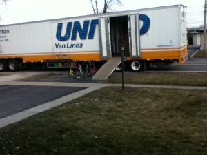 Moving truck.  Was glad the boys were at school.